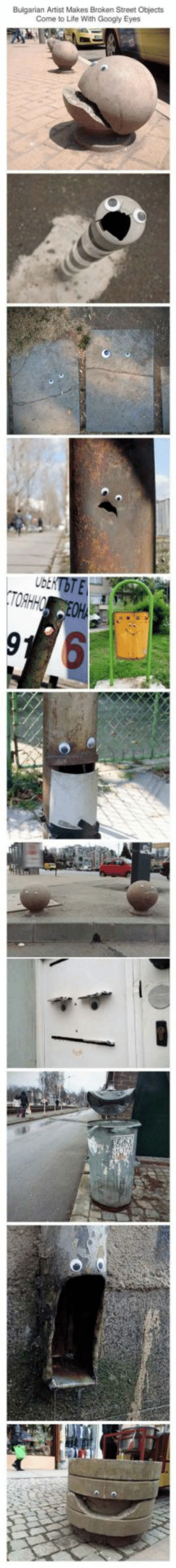 Life, Bulgaria, and Artist: Bulgarian Artist Makes Broken Street Objects  Come to Life With Googly Eyes Eyebombing Bulgaria