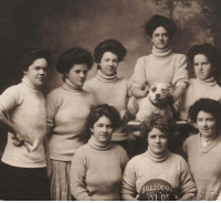 Basketball, Dogs, and Memes: BULLDOG  01-0 Women's Basketball Mascot Pit bull type dogs show up as sports mascots wherever vintage photos surface.  This team called themselves 'the Bulldogs' and the photo celebrated their 1907-08 season.   ~Brian