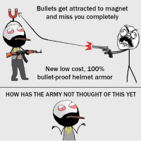 Anaconda, Be Like, and Meme: Bullets get attracted to magnet  and miss you completely  New low cost, 100%  bullet-proof helmet armor  HOW HAS THE ARMY NOT THOUGHT OF THIS YET Twitter: BLB247 Snapchat : BELIKEBRO.COM belikebro sarcasm meme Follow @be.like.bro