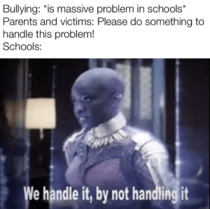 We handle it by not handling it!: Bullying: *is massive problem in schools*  Parents and victims: Please do something to  handle this problem!  Schools:  We handle it, by not handling it We handle it by not handling it!