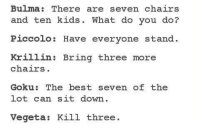 Bulma, Goku, and Memes: Bulma: There are seven chairs  and ten kids. What do you do?  Piccolo: Have everyone stand  Krillin: Bring three more  chairs  Goku: The best seven of the  lot can sit down.  Vegeta  Kill three
