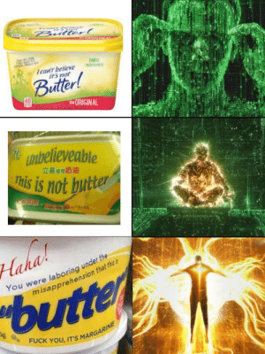 What is it?!: Bulterl  Ican't believe  irs not  Buitter!  tORIGINAL  unbelieveable  This is not butter  立基期奶油  S.  Haha  You were laboring under the  misapprehension that this is  butter  FUCK YOU, IT'S MARGARINE What is it?!