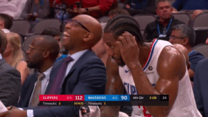 😂 Ty Lue's reaction to Sam Cassell grabbing his suit!  https://t.co/DNj7hAf01T: bumbl  11-5 90  12-5 112  CLIPPERS  MAVERICKS  4th Qtr  2:08  Timeouts: 2  BONUS  Timeouts: 1  24 😂 Ty Lue's reaction to Sam Cassell grabbing his suit!  https://t.co/DNj7hAf01T