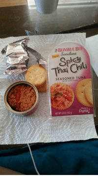 Bumble, Reality, and Joy: , BUMBLE BE  New! Sensations  Thai Chil  SEASONED TUNA  WITH CRACKERS  Ready to  NET WT 36 0Z (103 g) joy <p>Expectations VS Reality - I didn't expect an actual chili.</p>