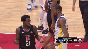 KD called the ISO and Pat Bev got hit with the foul immediately 😂: bumble  SERIES TIED 1-1  GSW51LAC 32  2ND 7:39 12 UNT KD called the ISO and Pat Bev got hit with the foul immediately 😂