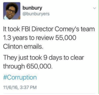 Fbi, Memes, and Email: bunbury  @bunburyers  It took FBI Director Comey's team  1.3 years to review 55,000  Clinton emails.  They just took 9 days to clear  through 650,000.  #Corruption  11/6/16, 3:37 PM MR