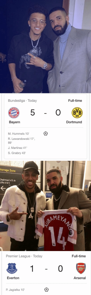 "Arsenal, Drake, and Everton: Bundesliga Today  Full-time  5  09  Bayern  Dortmund  M. Hummels 10  R. Lewandowski 17'  89""  J. Martinez 41'  S. Gnabry 43   torage Zone  hairman's Cl ib  Lifts 6&5  AMEY   Premier League Today  Full-time  Arsenal  0  Everton  1878  Everton  Arsenal  P. Jagielka 10' The Drake effect: https://t.co/x2suZRkkmv"