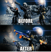 Kahoot, Memes, and Succ: BUNGIE  BEFORE  AFTER Now we're just a bunch of Guardians who protect the Last City with nerf guns ⚡ Partners ⤵ @destiny.game.drawings @reapinglyfe @that.one.dreg @kai.xur @gxstar @snipes.destiny @fangedleech77 @rendering_clips @whale.destiny @destinyarea _____________ destiny destinythegame destinyhumor dankmemes cringe triggered nicememe meme memes immortalmemes weeaboo anime ayylmao lol edgy papafranku girl mlg BEP fnaf wtf kek offensive succ loli kahoot ps4 xboxone