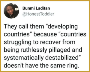 "Dank, Funny, and Memes: Bunmi Laditan  @HonestToddler  They call them ""developing  countries"" because ""countries  struggling to recover from  being ruthlessly pillaged and  systematically destabilized""  doesn't have the same ring. Funny how things are worded by tape90 MORE MEMES"