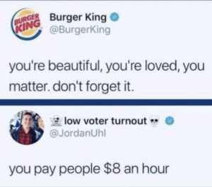 Ouch 🔥 🔥: BURGER Burger King  @BurgerKing  KING  you're beautiful, you're loved, you  matter. don't forget it.  low voter turnout  @JordanUhl  you pay people $8 an hour Ouch 🔥 🔥