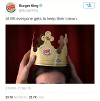 Part 11. The BK Shade💀 missuniverse steveharvey: @Burger King  At BK everyone gets to keep their crown.  (RING  5:15 PM 21 Dec 15  29.7K  RETWEETS  22.7K  LIKES Part 11. The BK Shade💀 missuniverse steveharvey