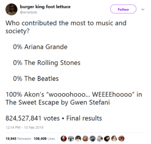 "ariana grande: burger king foot lettuc  @arranbick  Follow  Who contributed the most to music and  society?  0% Ariana Grande  ()% The Rolling Siones  090 The Beatles  100% Akon's ""woooohooo  WEEEEhoooo"" in  824,527,841 votes Final results  12:14 PM-10 Feb 2019  19,945 Retweets 108,409 Likes"