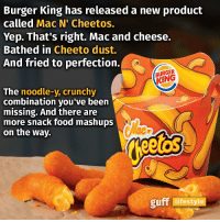"Im damn sure i just heard millions of neckbeards scream ""MOOOOOOOOOOOOOOM! GO TO BURGER KING! IM IN THE MIDDLE OF A RAID!"": Burger King has released a new product  called Mac N' Cheetos.  Yep. That's right. Mac and cheese.  Bathed in Cheeto dust.  And fried to perfection.  KING  The  noodle-y, crunchy  combination you've been  missing. And there are  more snack food mashups  on the way.  guff lifestyle Im damn sure i just heard millions of neckbeards scream ""MOOOOOOOOOOOOOOM! GO TO BURGER KING! IM IN THE MIDDLE OF A RAID!"""