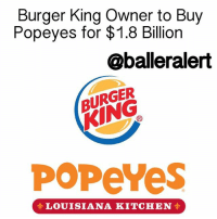 "Memes, 🤖, and Bbc: Burger King Owner to Buy  Popeyes for $1.8 Billion  @balleralert  BURGER  POPeYes  LOUISIANA KITCHEN Burger King Owner to Buy Popeyes for $1.8 Billion - blogged by @MsJennyb ⠀⠀⠀⠀⠀⠀⠀ ⠀⠀⠀⠀⠀⠀⠀ Have it your way with Popeyes fried chicken... ⠀⠀⠀⠀⠀⠀⠀ ⠀⠀⠀⠀⠀⠀⠀ According to BBC News, the 45-year-old southern-style fried chicken restaurant, Popeyes, which has grown from a small restaurant in NewOrleans to a chain restaurant with 2,600 establishments, has been acquired by the owner of BurgerKing. ⠀⠀⠀⠀⠀⠀⠀ ⠀⠀⠀⠀⠀⠀⠀ Restaurant Brands, the owner of the Home of the Whopper, has over 20,000 establishments in over 200 countries, and is looking to expand their business with the purchase of the popular fried chicken chain restaurant for $1.8 billion in cash. ""We look forward to taking an already very strong brand and accelerating its pace of growth and opening new restaurants in the US and around the world,"" the chief executive of Restaurant Brands, Daniel Schwartz, said. ⠀⠀⠀⠀⠀⠀⠀ ⠀⠀⠀⠀⠀⠀⠀ Those, who have shares in Popeyes, will benefit from the deal as well. According to reports, the restaurants shares jumped 19%, which means each shareholder will get $79 for each share. ⠀⠀⠀⠀⠀⠀⠀ ⠀⠀⠀⠀⠀⠀⠀ The brand ""will be managed independently,"" Schwartz said. ""The key to long-term success at Popeyes will be a focus on guest satisfaction and franchise profitability. The team has done a great job setting the foundation for future growth."""