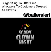"Africa, America, and Burger King: Burger King To Offer Free  Whoppers To Customers Dressed  As Clowns  @balleralert  SCADV  CLOWN  NIGHT Burger King To Offer Free Whoppers To Customers Dressed As Clowns - blogged by @Miss_binky ⠀⠀⠀⠀⠀⠀⠀ ⠀⠀⠀⠀⠀⠀⠀ When it comes to their arch rival, McDonald's, Burger King never shies away from being petty. Take this Halloween, for example. Select BK locations will be offering free Whopper sandwiches to customers who come in dressed as clowns. The popularity of scary clowns like Pennywise from 'It' is hurting the Ronald McDonald brand, and Burger King is all for it. In fact, the commercial advertising ScaryClownNight even includes a creepy clown that bears a pretty uncanny resemblance to Ronald himself. ⠀⠀⠀⠀⠀⠀⠀ ⠀⠀⠀⠀⠀⠀⠀ Alex Macedo, President of Burger King North America, said, ""We don't usually talk about clowns, but for this Halloween, come dressed as a clown to eat like a king."" ⠀⠀⠀⠀⠀⠀⠀ ⠀⠀⠀⠀⠀⠀⠀ The offer is only valid Halloween night, and at select U.S. locations in Massachusetts, Florida, California, Texas, and Utah (as well as The U.K., Germany, Spain, South Africa, Japan, Brazil, and Argentina)."