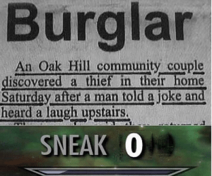 Community, Home, and Wholesome: Burglar  An Oak Hill community couple  discovered a thief in their home  Saturday after a man told a joke and  heard a laugh upstairs.  SNEAK 0 that's kinda wholesome