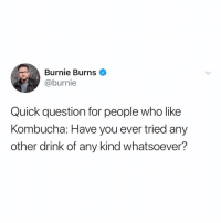 I'm with Burnie - Kombucha tastes like hot garbage. No one likes @snapple anymore? 😂😂 (@burnie): Burnie Burns  @burnie  Quick question for people who like  Kombucha: Have you ever tried any  other drink of any kind whatsoever? I'm with Burnie - Kombucha tastes like hot garbage. No one likes @snapple anymore? 😂😂 (@burnie)