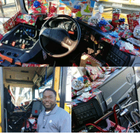 Children, Driver, and Bus: Bus driver buys presents for the children he drives (: