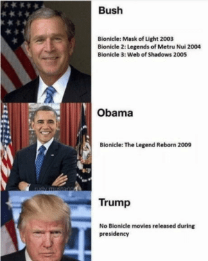 The president needs to get his priorities straight: Bush  Bionicle: Mask of Light 2003  Bionicle 2: Legends of Metru Nui 2004  Bionicle 3: Web of Shadows 2005  Obama  Bionicle: The Legend Reborn 2009  Trump  No Bionicle movies released during  presidency The president needs to get his priorities straight