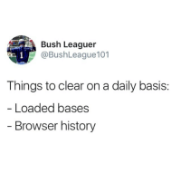 Another One, Baseball, and Memes: Bush Leaguer  @BushLeague101  Things to clear on a daily basis:  Loaded bases  Browser history Major Key Alert 🔑 . . . AnotherOne Major Keys Baseball Ballplayer Clear Bases Power Hitter RBI Safe CWS CollegeWorldSeries RoadToOmaha BushLeague LSU Florida