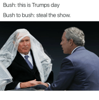 Tag 37 friends.: Bush: this is Trumps day  Bush to bush: steal the show. Tag 37 friends.
