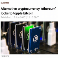 Despite a seven-fold difference in price, the market capitalization of a virtual currency called 'ethereum' is rapidly approaching that of bitcoin. According to a chart presented by CoinMarketCap, bitcoin currently accounts for nearly 39 percent of the combined market capitalization for all cryptocurrencies, though that figure is down sharply from late February's 87 percent. At the same time, ethereum, which accounted for over 31 percent of the combined market cap of virtual currencies, saw just a five percent drop over the past four months.Bitcoin has enjoyed the largest share of the cryptocurrency market since it was first introduced in 2009, with no serious rivals in sight – up till now. Ethereum, which has been around for less than two years, is becoming bitcoin's biggest rival. https:-www.rt.com-business-392418-ethereum-overtake-bitcoin-market-cap-: Business  Alternative cryptocurrency 'ethereum'  looks to topple bitcoin  Published: 15 Jun 2017 12:10 GMT  Reuters Despite a seven-fold difference in price, the market capitalization of a virtual currency called 'ethereum' is rapidly approaching that of bitcoin. According to a chart presented by CoinMarketCap, bitcoin currently accounts for nearly 39 percent of the combined market capitalization for all cryptocurrencies, though that figure is down sharply from late February's 87 percent. At the same time, ethereum, which accounted for over 31 percent of the combined market cap of virtual currencies, saw just a five percent drop over the past four months.Bitcoin has enjoyed the largest share of the cryptocurrency market since it was first introduced in 2009, with no serious rivals in sight – up till now. Ethereum, which has been around for less than two years, is becoming bitcoin's biggest rival. https:-www.rt.com-business-392418-ethereum-overtake-bitcoin-market-cap-