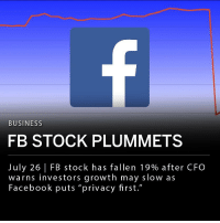 "Facebook, Mark Zuckerberg, and Memes: BUSINESS  FB STOCK PLUMMETS  July 26 | FB stock has fallen 19% after CFO  warns investors growth may slow as  Facebook puts ""privacy first."" Facebook (FB) shares fell 19% at the opening bell on Thursday. Stocks plummeted after Facebook CFO David Wehner warned investors that growth is expected to slow as the company restructures some features to put ""privacy first."" This will likely be Facebook's worst single-day performance. ___ Bloomberg estimates that founder and CEO Mark Zuckerberg's net worth has fallen close to $17 billion."