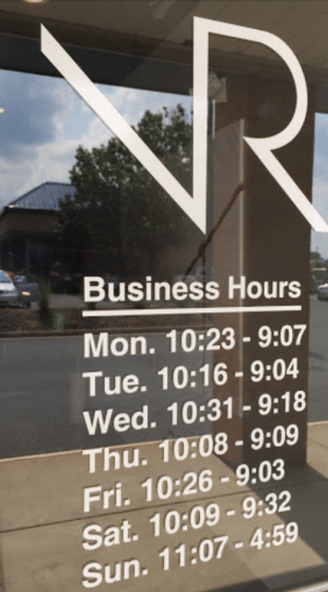 Business, Sun, and Sat: Business Hours  Mon. 10:23-9:07  Tue. 10:16-9:04  Wed. 10:31- 9:18  Thu. 10:08- 9:09  Fri. 10:26-9:03  Sat. 10:09-9:32  Sun. 11:07-4:59