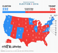 Abc, cnn.com, and News: BUSINESS INSIDER  ELECTION 2016  CLINTON  TRUMP  232  270 ELECTORAL  VOTES TO WIN  306  NH  ME CD 2  WA  12  VT  ME  ND  MA  OR  MN  ID  WI  10  SD  RI  29  MI  CT  NE  5  PA  20  IL IN OH  20 11 18  NV  NJ  14  DE  3  MD  co  KY 5 VA  13  KS  MO  10  NC  15  10  DC  OK  NM  SC  MS AL  GA  16  38  AK  29  saths unwise  SOURCES: Associated Press, Fox News, CNN, NBC News, CBS News, ABC News