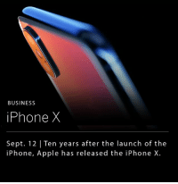 "Apple unveiled its latest smart phone — the iPhone X (pronounced ""iPhone ten""). The new iPhone X no longer includes the home button, has edge-to-edge display, wireless charging, a surgical grade stainless steel band around the edges, and is water and dust resistant. __ The phone is priced at $999, and pre-orders are set to start on October 27th. __ Along side the iPhone X, apple released its new Apple Watch, which is capable of connecting to cellular networks. __ (Image Credit: Engadget): BUSINESS  iPhone X  Sept. 12 