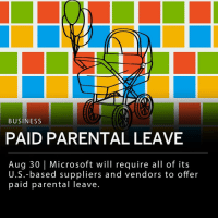"Memes, Microsoft, and Business: BUSINESS  PAID PARENTAL LEAVE  Aug 30 | Microsoft will require all of its  U.S.-based suppliers and vendors to offer  paid parental Teave Microsoft announced today that it will start requiring all of its U.S.-based suppliers and vendors with more than 50 employees to offer paid parental leave. The paid leave includes a minimum of 12 weeks, for either birth or adoption. The new policy will be phased in over the next year. ___ Microsoft noted the decision came after a Washington state law was passed for paid parental leave that is due to take place in 2020. Microsoft acknowledged that the new policy may increase costs. ___ Microsoft's corporate VP and general counsel Dev Stahlkopf said in a statement: - ""Studies show that paid parental leave enriches the lives of families. Women who take paid maternity leave are more likely to be in the workforce a year later and earn more than mothers who do not receive paid time off."""