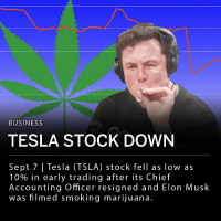 "Tesla Inc. (TSLA) stock fell as low as 10% in early trading Friday after the company's Chief Accounting Officer abruptly resigned and co-founder and Chief Executive Elon Musk was filmed smoking marijuana during a podcast recording. Musk appeared on ""The Joe Rogan Experience,"" whose host, Joe Rogan, has been outspoken in his support of psychedelic drug use and marijuana legalization. The podcast was recorded in California where recreational marijuana use is legal. ___ Musk tweeted that he was considering taking the company private in early August. ""Elon's actions are making it harder and harder to support Tesla as a company. His actions directly affect Tesla's share price because Elon is Tesla. That said, we still believe there is more upside to shares,"" wrote analyst Gene Munster.: BUSINESS  TESLA STOCK DOWN  Sept 7 