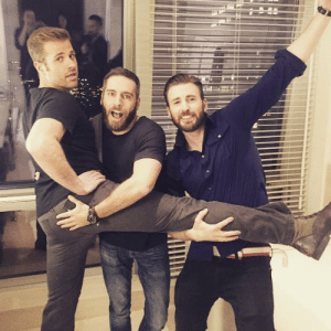 """Chris Evans, Christmas, and Target: bussykween: do-not-open-til-christmas:   montydave: CHRIS EVANS, his Brother SCOTT EVANS, (Left) and SCOTT'S Boy Friend / Partner (middle) """"Scott, why do all the men you bring home look like me?""""   I thought they were all siblings………………….."""