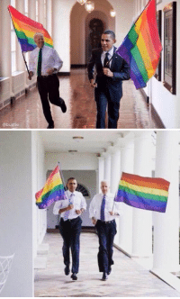 When Obama and Joe Biden ran around the White House with gay pride flags: @bustle When Obama and Joe Biden ran around the White House with gay pride flags