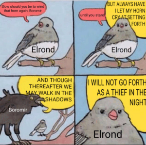 One does not simply walk quietly out of Rivendell: BUT ALWAYS HAVE  TLET MY HORN  CRY AT SETTING  900FORTH  Slow should you be to wind  that horn again, Boromir  until you stand  Elrond  Elrond  AND THOUGH  THEREAFTER WE  MAY WALK IN THE  SHADOWS  I WILL NOT GO FORTH  AS A THIEF IN THE  NIGHT  Boromir  Elrong  Elrond One does not simply walk quietly out of Rivendell