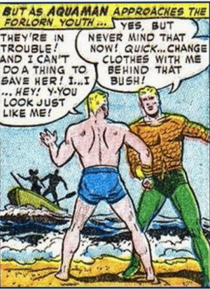 Slow Down Arthur…: BUT AS AQUAMAN APPROACHES THE  FORLORN YOUTH  THEY'RE IN  TROUBLE  AND I CAN'T  DO A THING TO  SAVE HER! I...I  ... HEY! Y-YOU  LOOK JUST  LIKE ME!  YES, BUT  NEVER MIND THAT  NOW! QUICK... CHANGE  CLOTHES WITH ME  BEHIND THAT  BUSH! Slow Down Arthur…