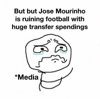 Pep Guardiola has spent £471m in his 18 months in charge at Man City!  Media be like... https://t.co/n0Gi9Q6Ewj: But but Jose Mourinho  is ruining football with  huge transfer spendings  *Media Pep Guardiola has spent £471m in his 18 months in charge at Man City!  Media be like... https://t.co/n0Gi9Q6Ewj
