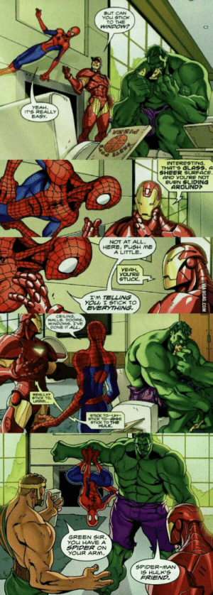 Spiderman is Hulks friend: BUT CAN  YOU STIcK  TO THE  IT'S REALLY  EASY  INT ER STING  THAT'S GLASS.  AND YOURE NOT  EVEN SLIDING  AROUND  NOT AT ALL.  HERE, PUSH ME  A LITTLE.  YEAH.  YOURE  STUCK.  TELLING  YOL I STICK TO  EVERYTHING  WALLS DOORS  WINDOWS T'VE  DONE IT  TICK TO  STICK TO-AHH  GREEN SIR  YO HAVE A  SPIDER ON  SPIDER-MAN  FRIEND. Spiderman is Hulks friend