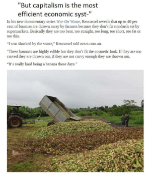 """Being Alone, Apparently, and Cars: """"But capitalism is the most  efficient economic syst-  I1  In his new documentary series War On Waste, Reucassel reveals that up to 40 per  cent of bananas are thrown away by farmers because they don't fit standards set by  supermarkets. Basically they are too bent, too straight, too long, too short, too fat or  too thin.  """"I was shocked by the waste, Reucassel told news.com.au.  etic look. If they are too  curved they are thrown out, if they are not curvy enough they are thrown out  It's really hard being a banana these days."""" bogleech: aphobehaterofficial:  manekikoneko:  oodlenoodleroodle:  Also: http://www.epicdash.com/thousands-of-unsold-new-cars-are-being-abandoned-and-left-to-die-in-lots-this-is-insane/ """"Overproduction isn't merely a flaw of the system in the United States or at one car factory, it's a worldwide problem. If we don't figure out a way to repurpose cars or price them according to new economic standards, yards of abandoned cars will continue to fill.""""   ….but I know so many people who need a car… who would benefit from any car, let alone a new one!! What…   its not like the economy would collapse or anything if they just… gave people the perfectly good resources that are wasting away, filling the space that apparently is becoming so valuable on this planet…. and if it would collapse. maybe it deserves to if it cant handle people being given things they need that would otherwise go to waste  The reason for a lot of this is that people who paid for things simply become angry when they see somebody else get the thing for free. Our whole world is worse so babies can feel better.And that banana thing is pissing me the FUCK off"""