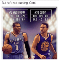 But he's not starting. Cool  #30 CURRY  #0 WESTBROOK  PPG RPG APG  PPG RPG APG  6 10.6 10.4  24.6 4.2 6.1  DEN S  CITY  TRARIO 🤔🤔🤔