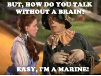 Meme WAR go: BUT, HOW DO YOU TALK  WITHOUT A BRAIN?  EASY, IMA MARINES Meme WAR go