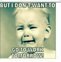 Memes, Work/Job, and 🤖: BUT I DONT WANT TO  GO TO  WORK  TOMORROW! ME 😂😂😂😂😒😒 WORK FUNNYPICTURE FUNNYpictures MEME MEMES FUNNYMEME FUNNYMEMES WORK JOBS