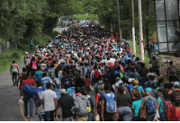 Photo, Caravan, and Soros: But I would walk 2,000 miles, and I would walk 2,000 more - just to be the caravan Soros paid to photo op at the US door...