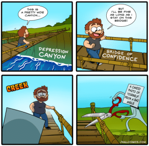 Bad, Confidence, and Depression: BUT  I'LL BE FINE  AS LONG ASI  STAY ON THIe  BRIDGE!  THIS ie  A PRETTY WIDE  CANYON...  DEPRESSION  CANYON  BRIDGE OF  CONFIDENCE  A CANDID  PHOTO OF  YOURSELF  FROM A BAD  CREEK  ANGLE  JHALLCOMICS.COM Youre having a good day, then BAM [OC]