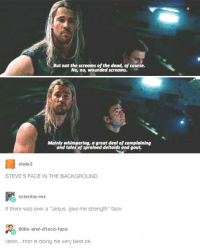 "Ohhh, Thor 😂 ~ Cap's Best Girl ☆☆: But not the screams of the dead, of course.  No, no, wounded screams.  Mainly whimpering, a great deal of complaining  and tales of sprained deltoids and gout.  Stele3  STEVE S FACE IN THE BACKGROUND.  scientia-rex  if there was ever a Jesus, give me strength"" face  808s-and-disco-face  listen...thor is doing his very best ok Ohhh, Thor 😂 ~ Cap's Best Girl ☆☆"