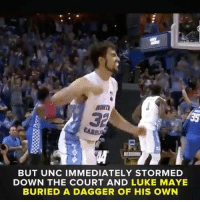Memes, 🤖, and Unc: BUT UNC IMMEDIATELY STORMED  DOWN THE COURT AND LUKE MAYE  BURIED A DAGGER OF HIS OWN A game for the ages.