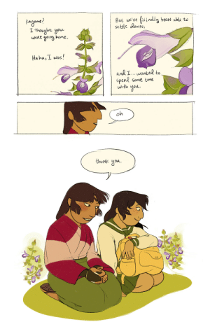 "anicream: FINALLY finished something for @kagsanweek (albeit a day late)!!  this started out as something inspired by the ""indulgent"" prompt but dissolved into ""thankful"" somewhere along the way :P the flower in the comic is a species of salvia, a flower meaning ""I think of you""!  : But we've fiiindly been able to  settle dowN,  Kageme?  L thought you  home  weRe  oina  Haha,I wos!  and I wanted to  Spend some time  with  oh  thaNk ou anicream: FINALLY finished something for @kagsanweek (albeit a day late)!!  this started out as something inspired by the ""indulgent"" prompt but dissolved into ""thankful"" somewhere along the way :P the flower in the comic is a species of salvia, a flower meaning ""I think of you""!"
