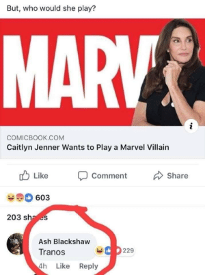 Biiiggg ooffff: But, who would she play?  COMICBOOK.COM  Caitlyn Jenner Wants to Play a Marvel Villain  ub Like Comment  Share  60:3  203 sha es  Ash Blackshaw  Tranos  4h Like Reply  229 Biiiggg ooffff