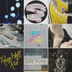 Tumblr, Anonymous, and Blog: BUT YOURSELE  BF  1 PROUD  KISS  HERE  HEART/  is  d STAY PUNK  THE Size skizzorlover:  pan punk moodboard for anonymous