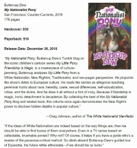 """Future, Ironic, and Tumblr: Buttercup Dew  My Nationalist Pony  San Francisco: Counter-Currents, 2018  178 pages  Mationalist  Hardcover: $30  Paperback: $16  Release Date: December 26, 2018  """"My Nationalist Pony, Buttercup Dew's Tumblr blog on  the iconic children's cartoon series My Little Pony:  Friendship is Magic, is a masterpiece of culture-  jamming. Buttercup analyzes My Little Pony from a  White Nationalist, New Rightist, Traditionalist, and neo-pagan perspective. He pinpoints  the show's debts to European culture. He reads the stories as allegories teaching  perennial truths about race, heredity, caste, sexual differences, self-actualization,  virtue, and the divine. And he does it all without a hint of irony. Because if friendship is  magic, ironic detachment is decadence. By collecting the best of the My Nationalist  Pony blog and related texts, this volume once again demonstrates the New Right's  power to disclose hidden depths in popular culture.""""  DE  -Greg Johnson, author of The White Nationalist Manifesto  """"If the ideas of White Nationalism are indeed based on the way things are, then we  should be able to find traces of them everywhere. Even in a TV series based on  collectable, brushable ponies? Why not? Of course, it helps if you have a guide who's a  master of the paranoiac-critical method. So climb aboard Buttercup Dew's guided tour  of Equestria, the future white ethnostate-if we should be so lucky."""""""